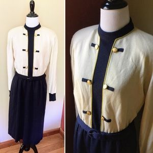Vintage Ciao wool blend sweater dress with belt